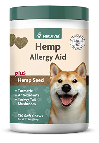 NaturVet - Hemp Allergy Aid for Dogs - Plus Hemp Seed | Helps Maintain Proper Skin Moisture & Respiratory Health | Enhanced with Antioxidants, Omegas, DHA, EPA & Hemp Seeds