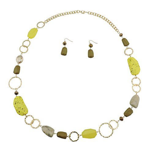 Beaded Yellow Jewelry Set (Bocar Fashion Long Chunky Crystal Beads Necklace and Earrings Set for Women Gift (NK-10076-yellow))