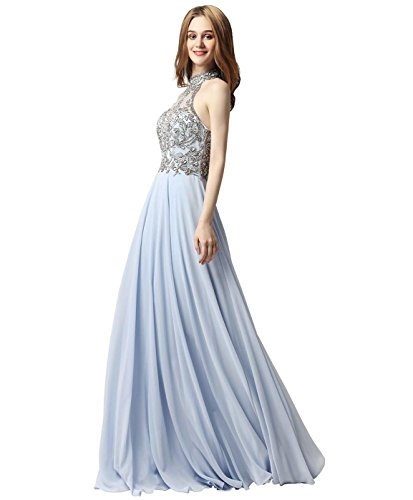Dress Lx432 sky Mermaid Pageant Crystal Neck House Women s Blue Gown Belle Evening V Beads zOU7nwq