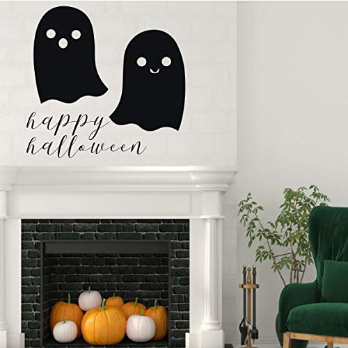 Halloween Decorations – Two Ghost Silhouette Decal with Vinyl Lettering: 'Happy Halloween' ()