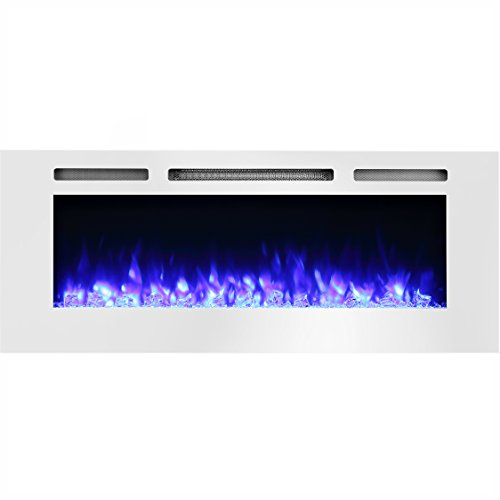 PuraFlame Alice 50' Recessed Electric Fireplace, Wall Mounted for 2 X 6 Stud, Log Set & Crystal, 1500W Heater, White