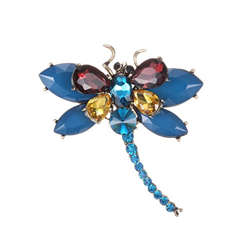 eManco Insect Dragonfly Brooches Pins for Women Crystal Brooch Clothing Accessories Fashion Jewelry (Blue)