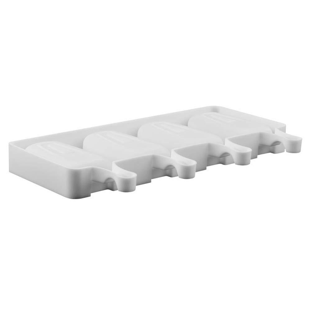 Silicona housesweet 3.8 * 7 cm Blanco Molde de Silicona para Hacer paletas de Helado 4 Celdas, 10 Palos de Madera