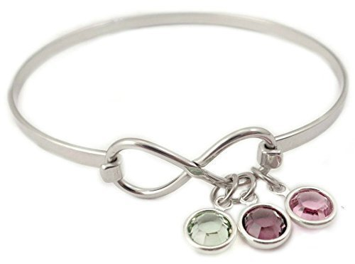 Infinity Birthstone Bangle Bracelet - Personalized Mother Jewelry - Charm Bracelet - 1017 - Grandmother Birthstone Jewelry