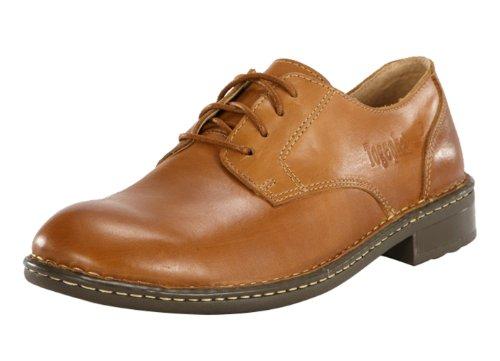 Topha Men's Top Grain Leather Fashion Business Lace up Casual Shoes Khaki 39EU