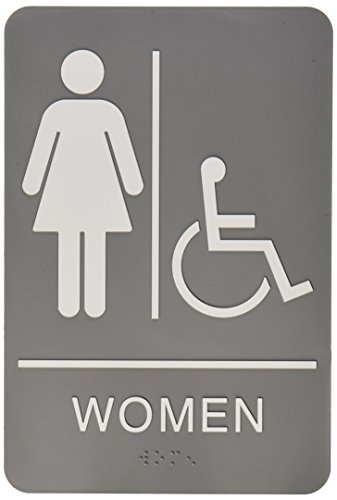 Quartet ADA Restroom Sign, Women Wheelchair Accessible Symbo