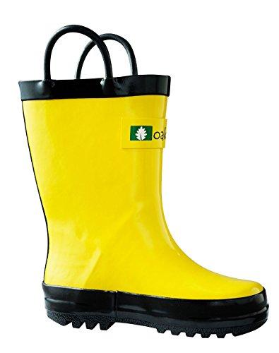 Oakiwear Kids Rubber Rain Boots, Yellow, 4T US Toddler