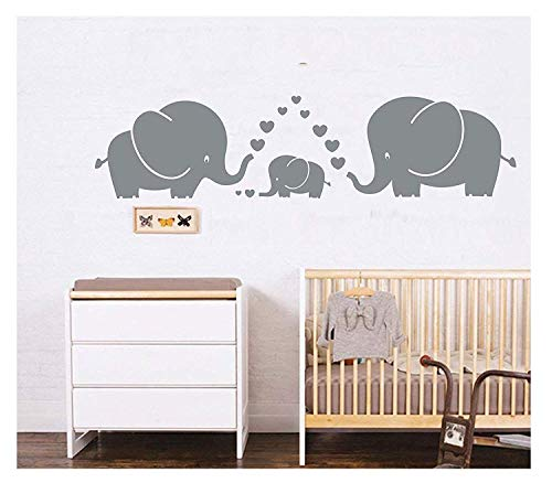 MAFENTTM Three Cute Elephants parents and kid Family wall decal With Hearts Wall Decals Baby Nursery Decor Kids Room Wall Stickers Grey