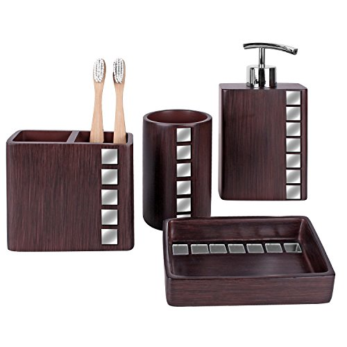 Creative Scents Marquee Bath Ensemble, 4 Piece Bathroom Accessories Set, Marquee Collection Bath Set Features Soap Dispenser, Toothbrush Holder, Tumbler, Soap Dish - Accented with Small Square Mirrors (2 Piece Vanity)