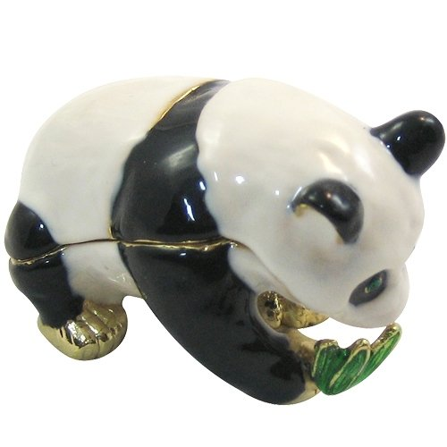 [NEW] Jewelry Trinket Box Figurine Case Vintage Collectible for Keepsake Art Decor Holder Organizer Pill Box - Magnet Storage, Jeweled w/ Swarovski Crystals ( Animals / Vehicles ) (Panda - Bamboo)