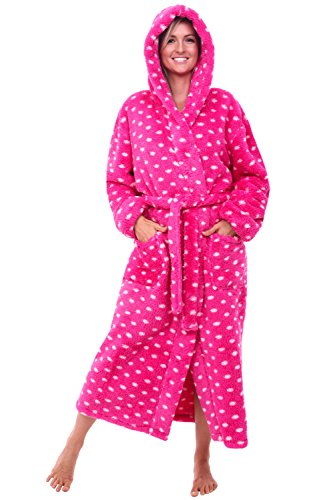 Alexander Del Rossa Womens Printed Fleece Robe, Long Plush Hooded Bathrobe