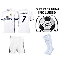 JerzeHero Real Madrid Ronaldo #7 Youth Kids Soccer Jersey 4 IN 1 Gift Set ✓ Soccer Jersey ✓ Shorts ✓ Socks ✓ Drawstring Bag ✓ Home or Away