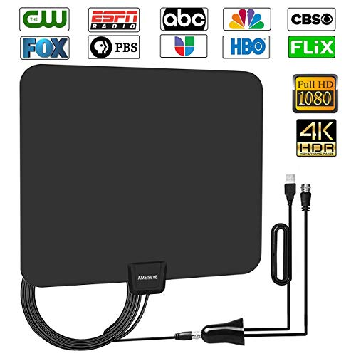AMEISEYE [Upgraded 2018] Digital Amplified HD TV Antenna 50-80 Mile Range - Support 4K 1080p and All TV's w/Detachable HDTV Amplifier Signal Booster - 13.5 Longer Coax Cable ()