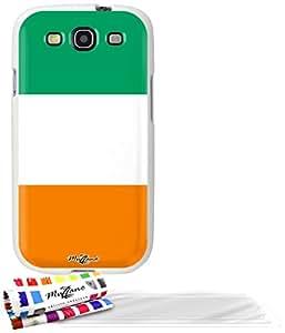 """Carcasa Flexible Ultra-Slim SAMSUNG GALAXY S3 de exclusivo motivo [Cote d'Ivoire Bandera] [Blanca] de MUZZANO  + 3 Pelliculas de Pantalla """"UltraClear"""" + ESTILETE y PAÑO MUZZANO REGALADOS - La Protección Antigolpes ULTIMA, ELEGANTE Y DURADERA para su SAMSUNG GALAXY S3"""