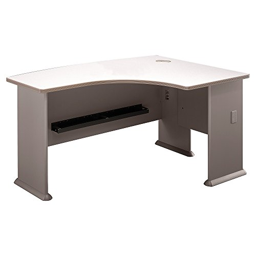 Bush Business Furniture Series A Collection 60W x44D Right Hand L-Bow Desk in White Spectrum - Hand U-shaped Desk