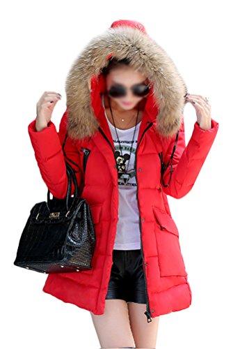 Rouge Doudoune Veste Manteau Veston Automne Chaud Fourrure Doudoune Parka Hiver Femme Jacket Femme Capuche MILEEO Manteau Fausse à Blouson Court Hoodie gwq11RZ