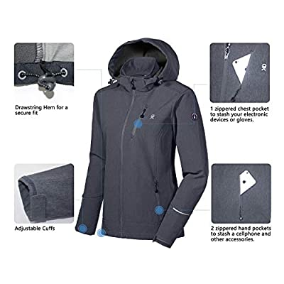 Little Donkey Andy Women's Softshell Jacket Ski Jacket with Removable Hood, Fleece Lined and Water Repellent: Clothing