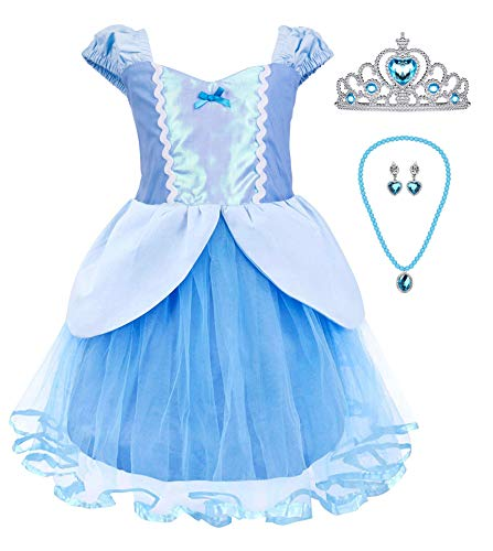 Princess Cinderella Rapunzel Little Mermaid Dress Costume for Baby Toddler Girl (4T, Blue)