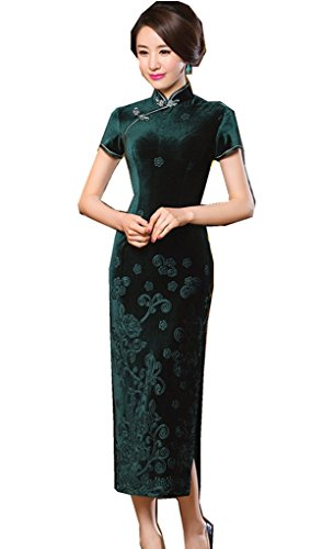 Shanghai Story Floral Embrodiery Qipao Dress Velvet Long Cheongsam 3XL Green by Shanghai Story