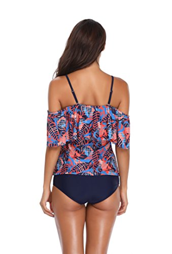 Memory baby Women's Plus Size Floral Tankini Set Two Piece Swimsuit Blue Orange L by Memory baby (Image #6)