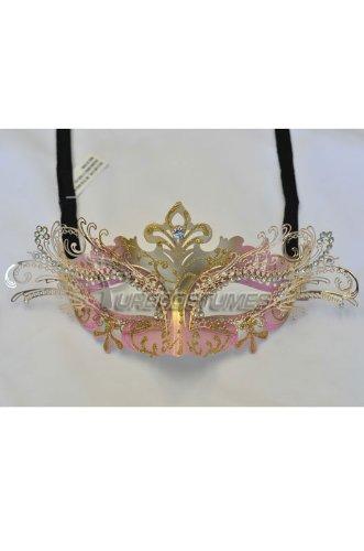 [Masquerade Laser-cut Pink/Gold Venetian Mask] (Adult Diamond Jester Costumes)