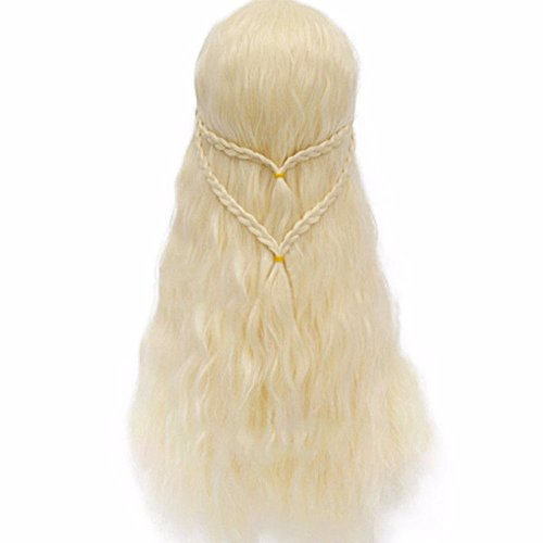 Custome Wigs (Game of Thrones Cosplay Long Curly Braid Wigs for Khaleesi Daenerys Targaryen Warrior (A))