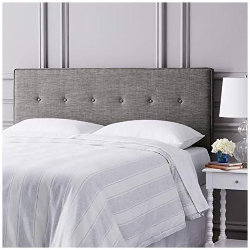 Bedroom Amazon Brand – Ravenna Home Haraden Modern Rectangular Button-Tufted King Bed Headboard, 82″W, Grey modern headboards