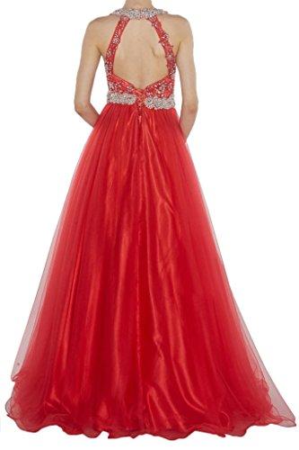 Robe Avril Licol Illusion Élégante Empire Dos Nu Robe De Soirée En Dentelle Rouge Appliqué