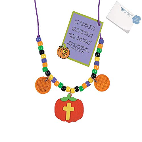 Beaded Pumpkin - Bargain World Plastic Christian Pumpkin Beaded Reflector Necklace Craft Kit (With Sticky Notes)
