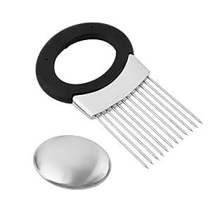 Newcomdigi Multi-Purpose Stainless Steel Onion Holder & Odor Remover, Onion Chopper/ Meat Tenderizer