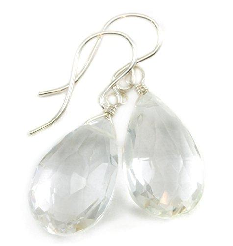 Sterling Silver Clear Quartz Earrings Faceted Pear Teardrops Simple Classic Dangle Briolette Drops