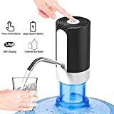 USB Drinking Water Pump for 5 Gallon Bottle, Automatic Water Dispenser Waterproof LED Button Bottle Dispenser for Home Kitchen Office Camping (White)