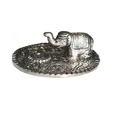 Round Metal Incense Burner w/ Elephant 2.75 in Dia (Incense Silver Burner)