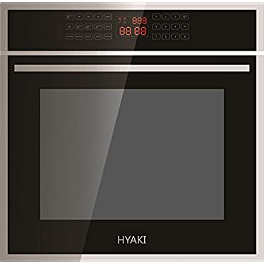HYAKI 24 Black Tempered Glass LED Digital Touch Controls 12 Cooking Style W/Rotisserie Function Electric Built-In Single Wall Oven HYK-24WOX01