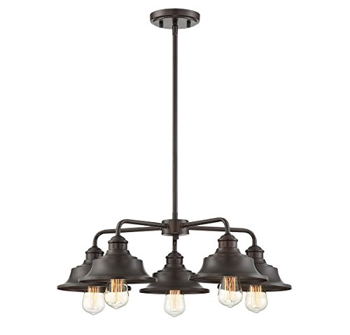 Trade Winds Lighting TW10052ORB 5 Light Vintage Industrial Hanging Ceiling Pendant Chandelier with Metal Shades, 60 Watts, in Oil Rubbed Bronze ()