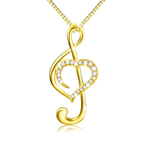 - (Musical Note Necklace Pendant) 925 Sterling Silver CZ Jewelry For Women, Box Chain 18
