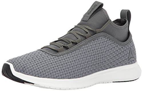 Reebok Men's Plus Runner Woven Running Shoe, Ironstone/Chalk/Black, 9 M US (Woven Shoe Men)