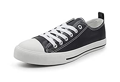 Womens Sneakers Tennis Canvas Shoes Casual Shoes for Women Low Top Cap Toe Flats (6, Black Leather)