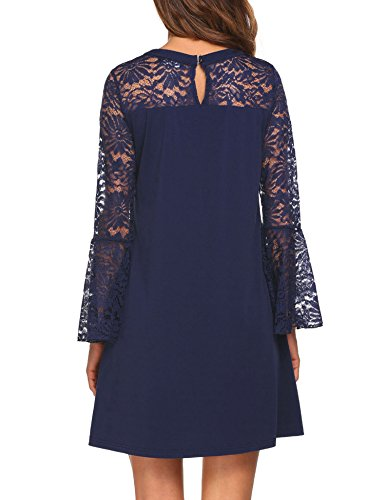 Women's Patchwork Style1 Tunic Sleeve Dress navy A Party Blue Lace Line Dress Cocktail Long pasttry dE7qxd