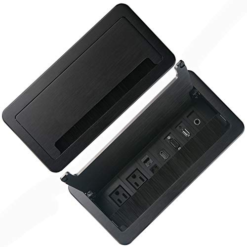 Conference Table Power Module-Tabletop Multimedia Connectivity Box Outlet.With 2 Electric Power Outlets,USB and HDMI