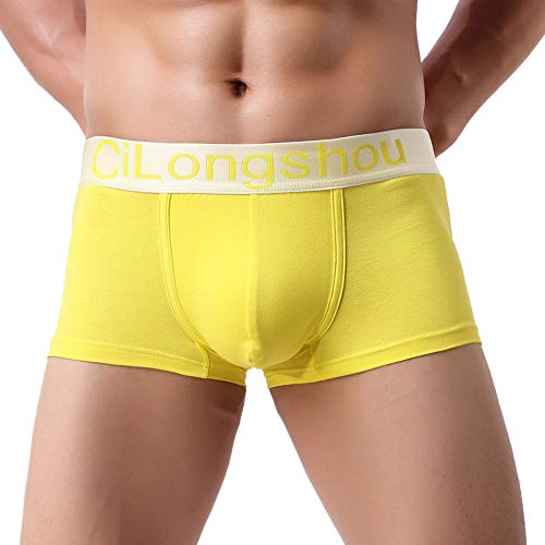 GOVOW Autumn Men Underwear Patchwork Casual Knickers Boxer Briefs Shorts Bulge Pouch Underpants(US:XL/CN:XXL,A-Yellow )