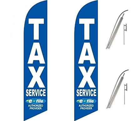 Two Full Sleeve Swooper Flags w/ Poles & Spikes TAX SERVICE (IRS e-FILE)  Blue White