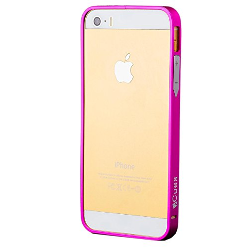 iCues | Compatible with Apple iPhone SE / 5S / 5 | Aluminium Alloy Bumper Pink |[Screen Protector Included] Case Cover Shell Shookproof