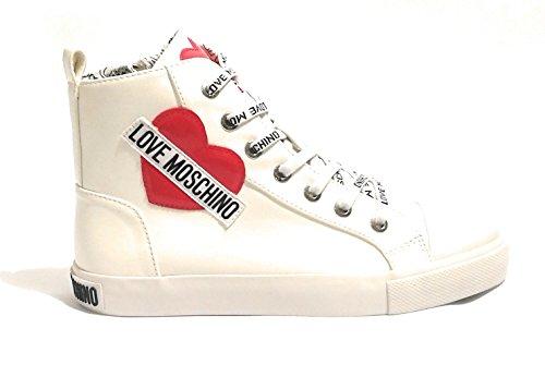Logo Ecopelle Donna D19MO03 Moschino Alto Cuore Bianco Sneaker Love Scarpe Nappa zc4v4nWS