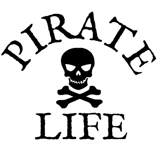 Pirate Life Bumper Sticker Decal with Skull and Crossbones | Boat Decal Sticker Perfect for Cars Trucks RVs Boats SUV Motorcycles and More | 6 in x 5 in | Premium Vinyl Graphics Made in USA (Black) ()