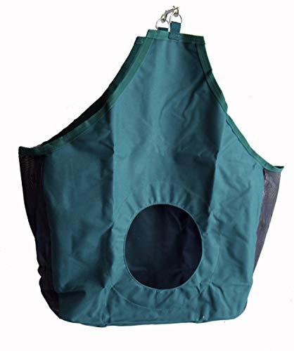 - AJ Tack Wholesale Horse Hay Feed Bag Tote Mesh Gussets Bottom 600D Canvas Nylon Metal Snap Green