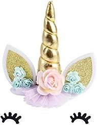 Lifereal Unicorn Cake Topper Unicorn Horn Ears and flowers Set Unicorn Baby Shower/Birthday/Wedding/Party Cake Decoration Set (white)
