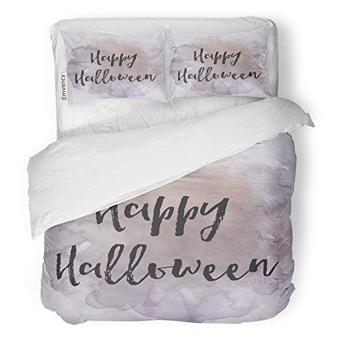 Emvency 3 Piece Duvet Cover Set Brushed Microfiber Fabric Breathable Saying Happy Halloween on Watercolor Abstract Aged Bedding Set with 2 Pillow Covers Twin Size ()