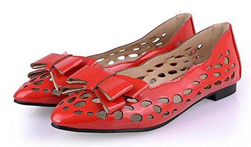 Showhow Womens Bekväm Båge Ihåliga Ut Spetsig Tå Ingen Häl Slip På Flats Shoes Red
