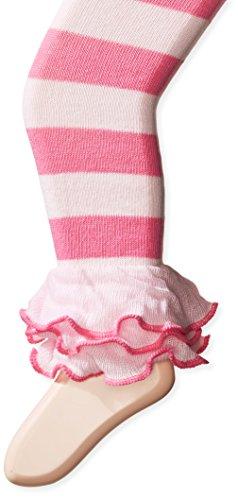 Jefferies Socks Girls' Little Dot and Stripe Multi Ruffle Footless Tight, Pink, 4-6 Years